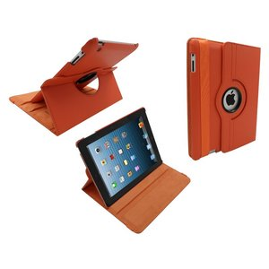 iPad 2/3/4 Leder Hoes Draaibaar 360 Graden Oranje