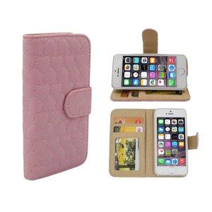 iPhone 5 en 5S Boek Hoesje Leder Roze Hartjes Motief