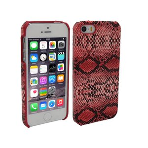 iPhone 5 en 5S Hoesje Hardcover Slangenprint Rood