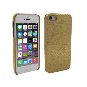 iPhone 5 en 5S Hoesje Hardcover Slangenprint Goud