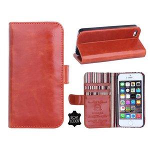 iPhone 5 en 5S Bookcase Hoesje Leder Cognac Bruin