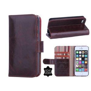 iPhone 5 en 5S Bookcase Hoesje Leder Donker Bruin