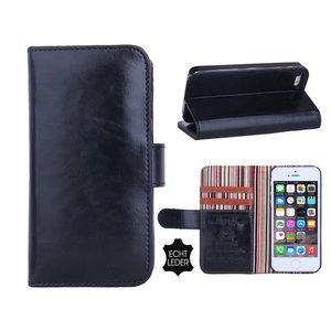 iPhone 5 en 5S Bookcase Hoesje Leder Zwart