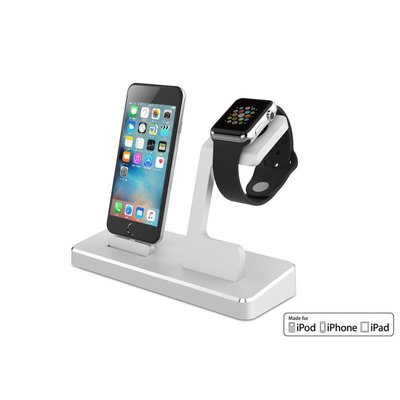 Docking Station iPhone iPad Apple Watch MFI Zilver
