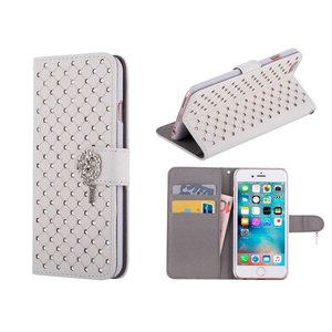 iPhone 6/6S Bookcase Hoesje Diamantjes Roos Wit