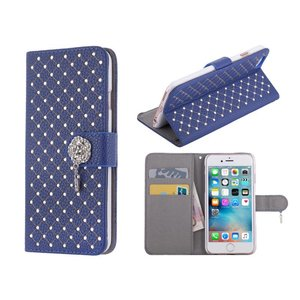iPhone 6/6S Bookcase Hoesje Diamantjes Roos Blauw