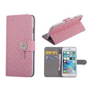 iPhone 6/6S Bookcase Hoesje Diamantjes Roos Roze