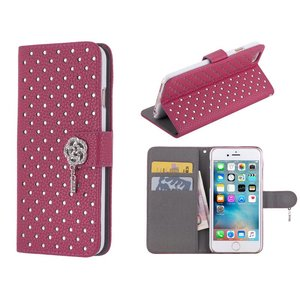 iPhone 6/6S Bookcase Diamantjes Roos Diep Roze