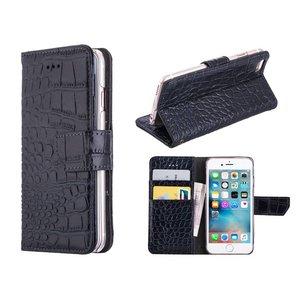 iPhone 6/6S Bookcase Hoesje Krokodil Leder Zwart