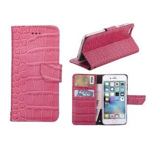 iPhone 6/6S Bookcase Hoesje Krokodil Leder Roze
