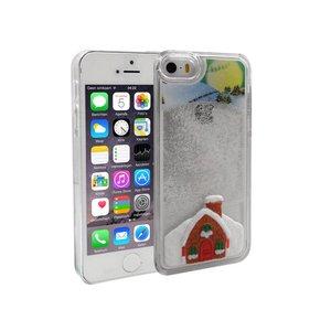 iPhone 5 en 5S Bewegend Hoesje Kerstmis Sneeuwhuisje