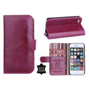 iPhone 5 en 5S Bookcase Hoesje Leder Paars
