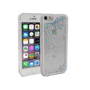 iPhone 5/5S Bewegend Glitter Hoesje Roze Paars Hartjes