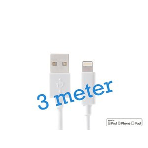 iPhone 5/5S/6/6S & iPad Lightning Kabel MFI Wit 3M