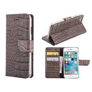 iPhone 6/6S Bookcase Hoesje Krokodil Leder Grijs