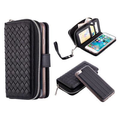 iPhone 6 / 6S Portemonnee Clutch Gevlochten Zwart