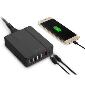 USB Oplader 6 Poorten Lader Zwart
