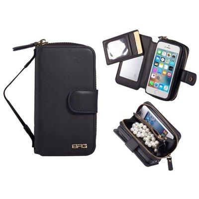 iPhone SE/5S/5 Portemonnee Clutch Spiegeltje Zwart