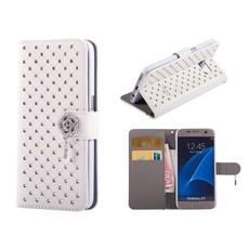 Samsung Galaxy S7 Bookcase Hoesje Diamantjes Wit