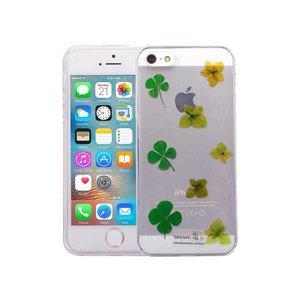 iPhone SE/5S/5 Hoesje Echte Bloemen Groen TPU