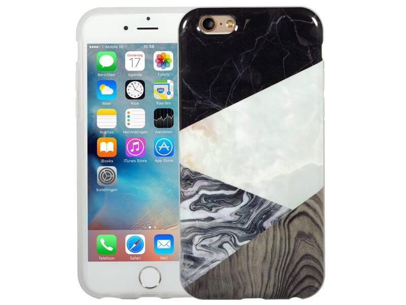 Dagaanbieding: Marmer iPhone 6 / 6S Hoesje Marble Hout Combi