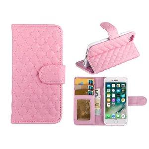 iPhone 7 Bookcase Hoesje Wallet Ruitjes Roze