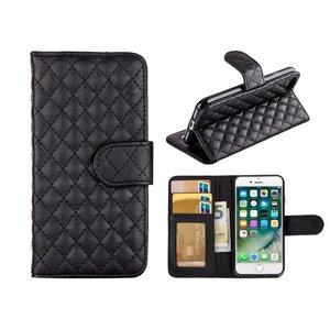 iPhone 7 Bookcase Hoesje Wallet Ruitjes Zwart