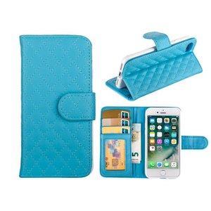 iPhone 7 Bookcase Hoesje Wallet Ruitjes Blauw