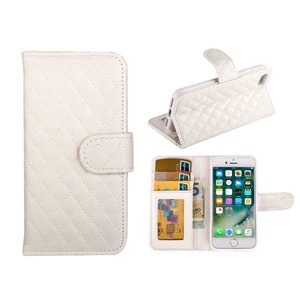 iPhone 7 Bookcase Hoesje Wallet Ruitjes Wit