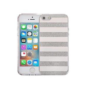 iPhone SE/5S/5 Hardcase Glitter Strepen Zilver