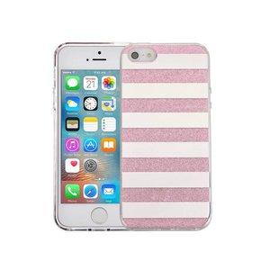 iPhone SE/5S/5 Hardcase Glitter Strepen Roze