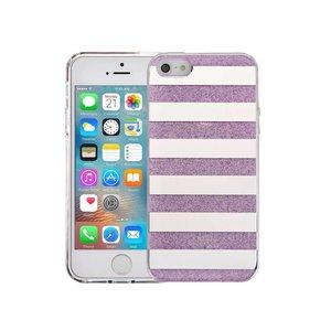 iPhone SE/5S/5 Hardcase Glitter Strepen Paars