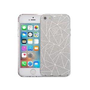 iPhone SE/5S/5 Hardcase Glitter Mozaiek Zilver