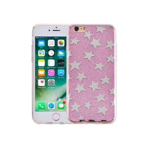 iPhone 6 en 6S Hardcase Glitter Sterretjes Paars
