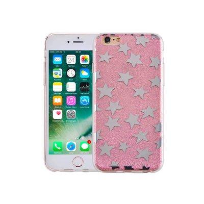 iPhone 6 en 6S Hardcase Glitter Sterretjes Roze