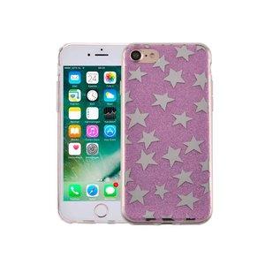 iPhone 7 Hardcase Glitter Sterretjes Paars