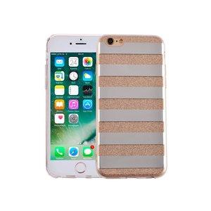 iPhone 6 en 6S Hardcase Glitter Strepen Goud