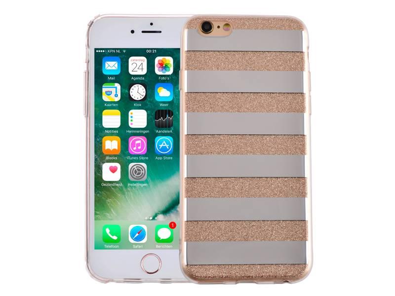 Iphone 6 en 6s hardcase glitter strepen goudgoud en zilver, de twee meest chique kleuren samen in een ...