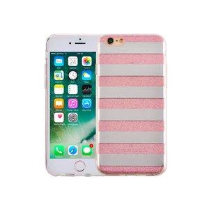 iPhone 6 en 6S Hardcase Glitter Strepen Roze