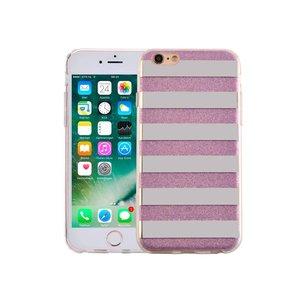 iPhone 6 en 6S Hardcase Glitter Strepen Paars