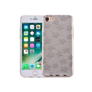 iPhone 7 Hardcase Glitter Sterretjes Zilver