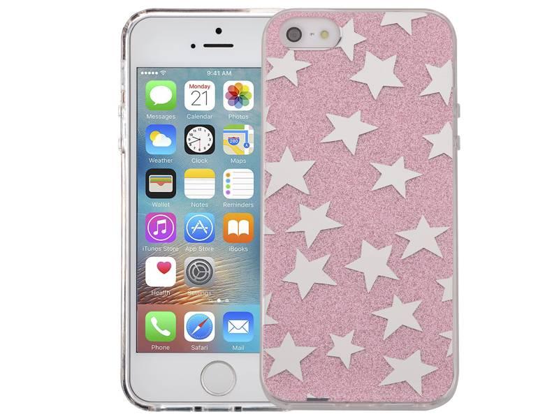 iPhone SE/5S/5 Hardcase Glitter Sterretjes Roze