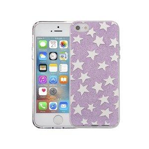 iPhone SE/5S/5 Hardcase Glitter Sterretjes Paars