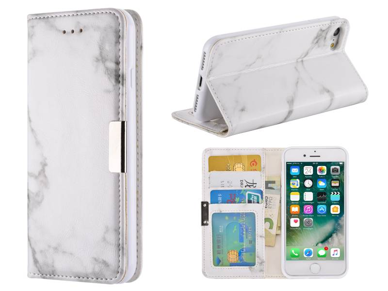 Marmer iPhone 7 Hoesje Bookcase Wit