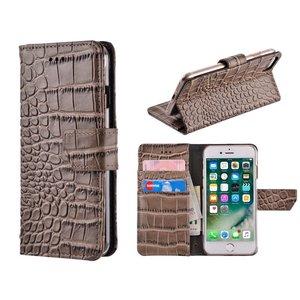 iPhone 7 Bookcase Hoesje Krokodil Leder Grijs