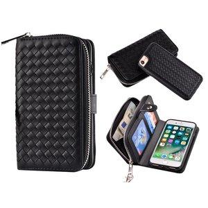 iPhone 8/7 Portemonnee Clutch Gevlochten Zwart