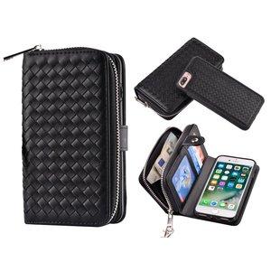 iPhone 7 Plus Portemonnee Clutch Gevlochten Zwart