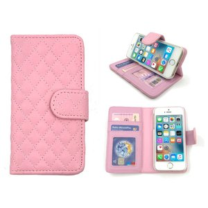 iPhone SE/5S/5 Bookcase Hoesje Wallet Ruitjes Roze