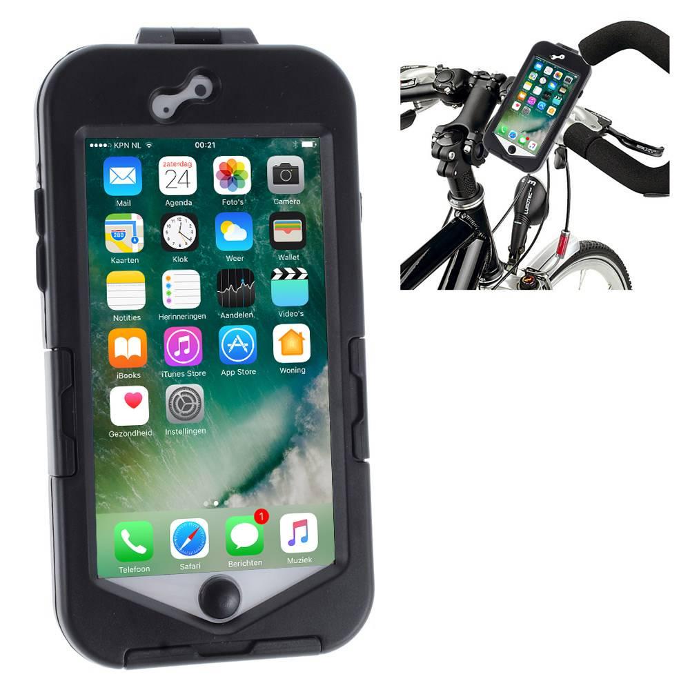 Fietshouder iphone 8/7 zwartneem je iphone 8/7 met je mee tijdens het fietsen of motorrijden. dit gaat ...