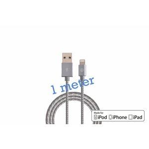 Gevlochten Lightning Kabel 1 Meter MFI Grijs